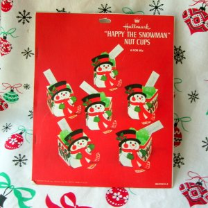 Vintage Christmas Hallmark Happy the Snowman Nut Cups Unpunched