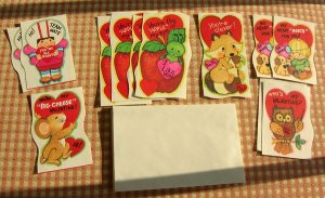 Vintage Unused Student Valentines Envelopes and Box