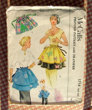 McCalls 1714 Vintage Fifties Sewing Pattern Apron with Butterfly and Snow Transfers