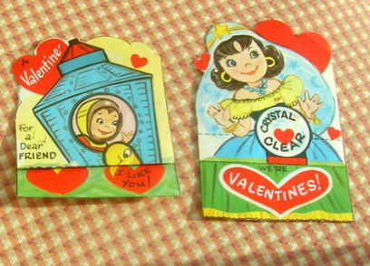 Vintage 50s Valentine Cards Fortune Telling Girl and Astronaut Boy