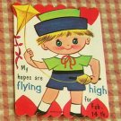 Vintage 50s Valentine Cards Scottish Bagpipe Girl and Kite Boy