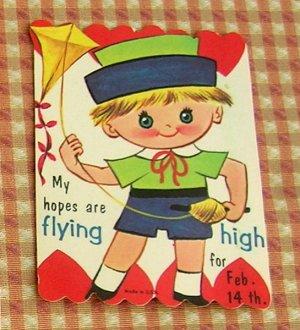 Vintage 50s Valentine Cards Scottish Bagpipe Girl and Kite Boy