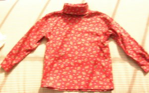 Hanna Andersson Yellow Floral and Red Knit Turtleneck Top Girls Size 110 Hannah Anderson