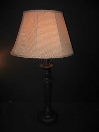 #5 ReDesigned Black Metal Tall Table Lamp with Red & White Checkard Shade