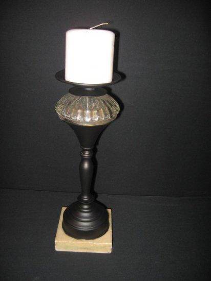 #15  Redesigned Vintage Cast Metal Black Candle Holder with  Crystal Fluted Globe and Marble Base
