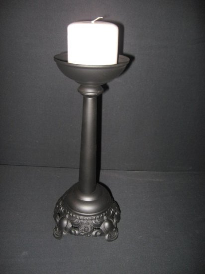 #16  Redesigned Vintage Cast Metal Black Candle Holder with  Scroll Scalloped Metal Base