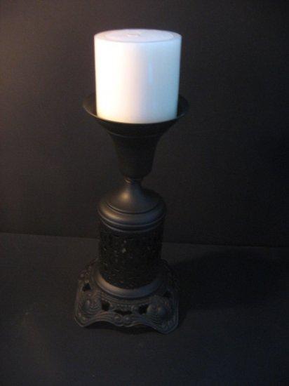 #17  Redesigned Vintage Cast Metal Black Candle Holder with  Piered Metal Base