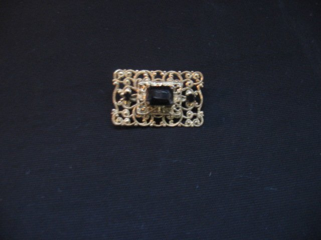 #1  Vintage Costume Jewelry Rectangle Womens Broche with Gold Scroll Work & Black Stones