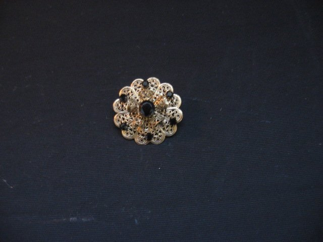 #2  Vintage Costume Jewelry  Round Womens Broche with Gold Scroll Work & Black Stones