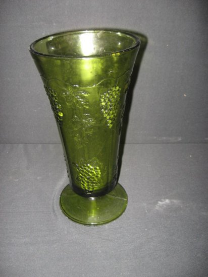#2  Green Moulded Glass Vase with Grape Vines