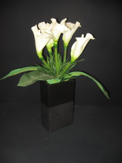 #6  Large Lilly Floral Arrangement in Black Glazed Ceramic Container