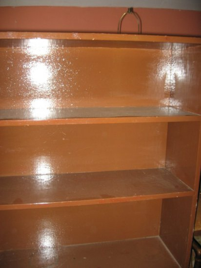 #2  Brown Painted Bookcase with Two Shelves