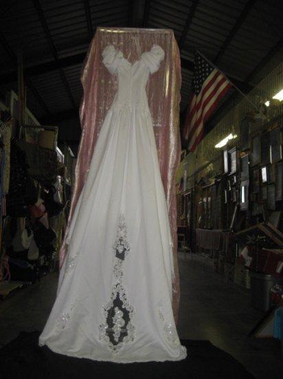 #1  White Beaded & Lace Wedding Dress  Size 12 18in Across Waist