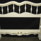 #11  Twin Size Bed Off White with Gold Accents Wood Head & FootBoard 40x36
