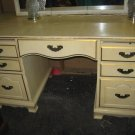 #2  Solid Wood Vanity Desk Painted Yellow w Gold Trim