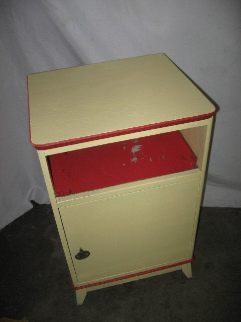 #8  Vintage Night Stand with Shelf and Storage with Distress Painted Finish $