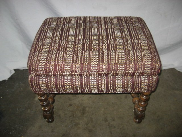 #10  Ottoman with wood Turned Leges ( needs reupholstry)
