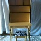 #3  ReDesigned Yellow Vanity  Hutch with Black Accents & Matching Zibra Bench