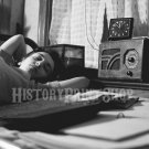Girl in Boardinghouse Bedroom Listening to Radio. Photo Esther Bubley Vintage Historic Pretty 1940's