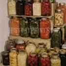 CANNED FOOD JAR DISPLAY PHOTO VINTAGE KITCHEN VEGETABLE BEETS SQUASH PEAS FRUIT