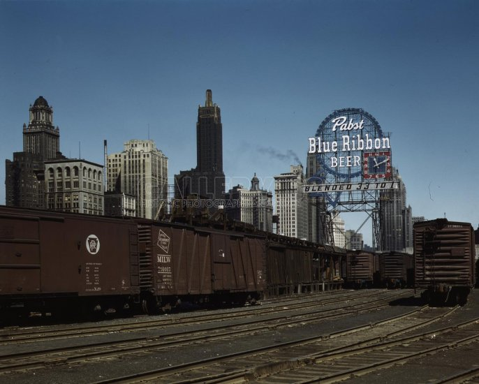 What Is Freight Shipping >> CHICAGO TRAIN YARD PABST BLUE RIBBON SIGN PBR BEER VINTAGE ...
