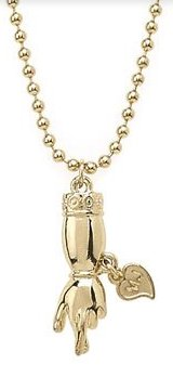 Marc Jacobs Crossed Finger Charm Necklace Gold