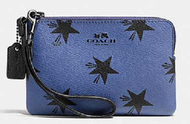 COACH Blue Black CORNER ZIP WRISTLET IN STAR CANYON PRINT COATED CANVAS (F64239)