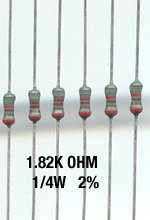 50pcs- 1.82K Ohm Resistors 1/4W 2% Metal Film (1.82 k)