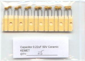 25 - 0.22uF Ceramic Capacitors (220nF) -KEMET-  L@@K !!