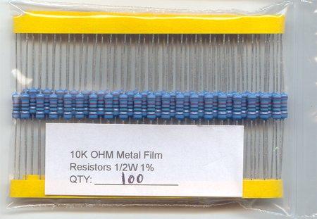 100pcs - 10K Ohm Resistors 1/2W 1% (10000 ohm 10 K)