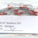 25pcs- 0.47uF 35V TANTALUM CAPACITORS 0.47 MF - Sprague
