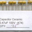 25 - 0.47uF 100V Ceramic Capacitors 0.47 mf uf (470nf)