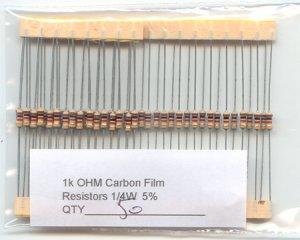 50pcs - 1k Ohm Resistors 1/4W 5% (1000 ohm 1 K carbon)