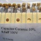 50 - 0.1uF 100V Ceramic Capacitors (100nF) 0.1 mf uf