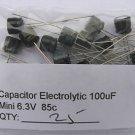 25pcs - 100uF Electrolytic Capacitor 6.3V 100 MF 100mf