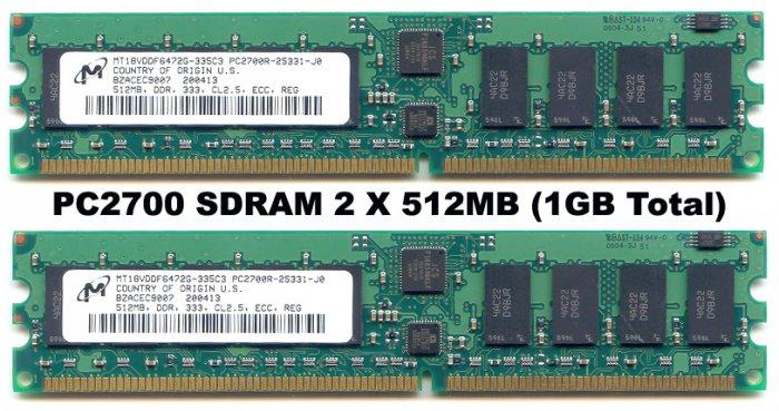 2 X 512MB (1GB Total) PC2700 333Mhz DDR RAM ECC -MICRON