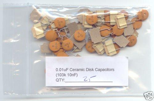 25pcs - 0.01uF Ceramic Disk Capacitors ( 103K - 10nF )