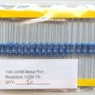 50pcs - 10K Ohm Resistors 1/2W 1% (10000 ohm 10 K)
