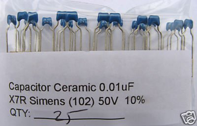 50pcs - 0.01uF 50V Ceramic Capacitors (10nF) 0.01 mf uf