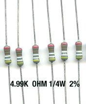30pcs- 4.99K Ohm Resistors 1/4W 2% Metal Film (4.99 k)