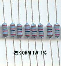 30pcs- 29K Ohm Resistors 1W 1% Metal Film (29kohm)