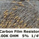 50pcs - 100k Ohm Carbon Resistors 1/4W 5% (100000 ohm)