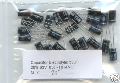 25pcs - 33uF Electrolytic Capacitor 63V - HITANO!