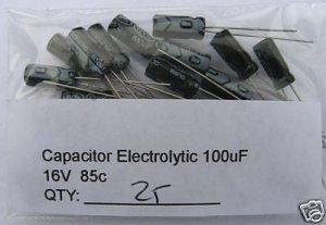 25pcs - 100uF Electrolytic Capacitor 16V 100 MF 100mf