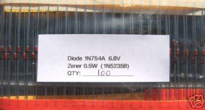100 - 1N754A 0.5W (1N5235B) 6.8V ZENER DIODE IN754A
