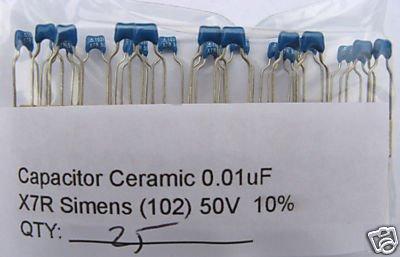 25pcs - 0.01uF 50V Ceramic Capacitors (10nF) 0.01 mf uf