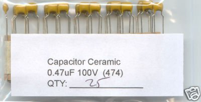 50 - 0.47uF 100V Ceramic Capacitors 0.47 mf uf (470nf)