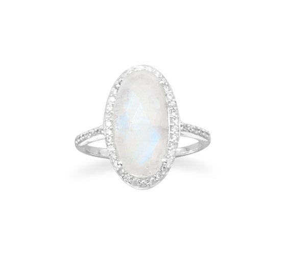 Fashion Ring Moonstone Sterling Silver with CZ - Available in WHOLE SIZES 5 to 11