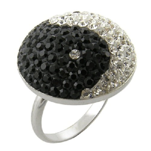 Crystal Ring YING YANG Design Sterling Silver Band - Available in WHOLE SIZES 6 & 7
