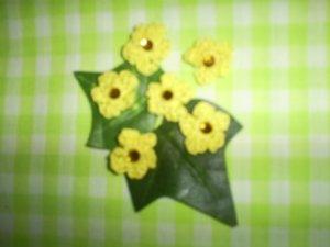 Hand Crochet Mini Flower Embellishments (Set of Six) Yellow